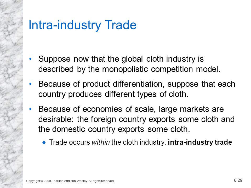 Intra-industry Trade Suppose now that the global cloth industry is described by the monopolistic competition model.