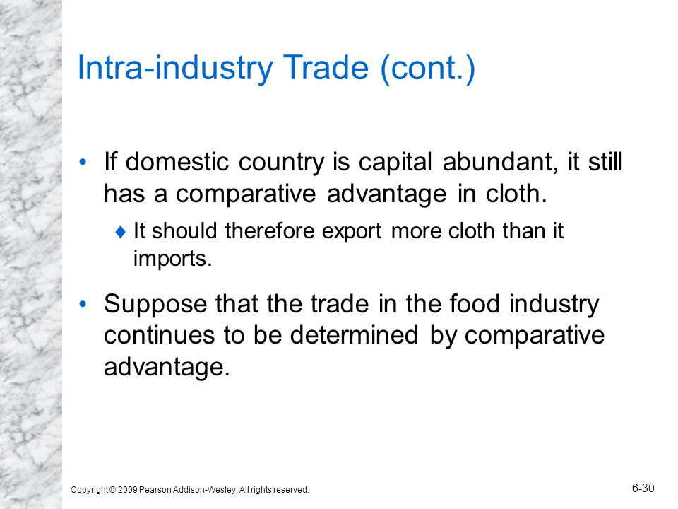 Intra-industry Trade (cont.)