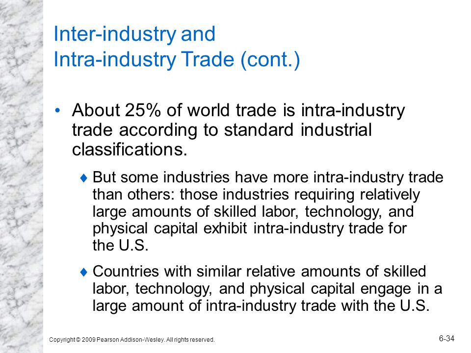 Inter-industry and Intra-industry Trade (cont.)