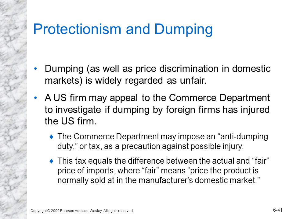 Protectionism and Dumping