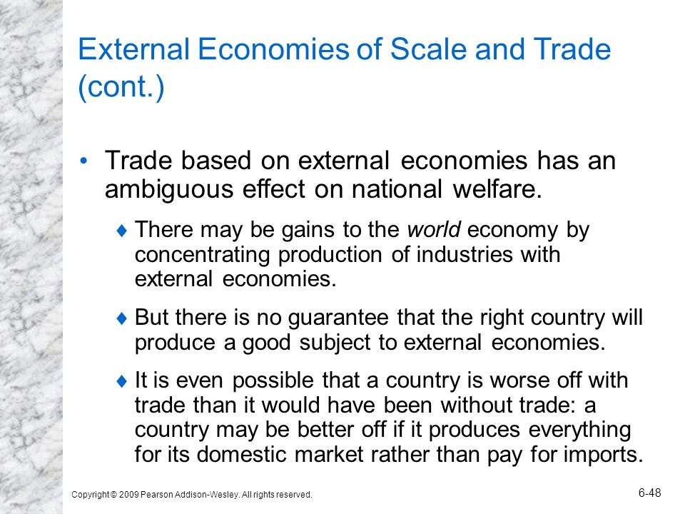 External Economies of Scale and Trade (cont.)