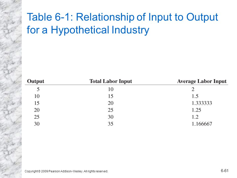 Table 6-1: Relationship of Input to Output for a Hypothetical Industry