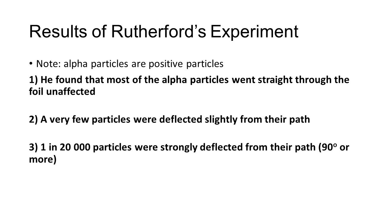 Results of Rutherford's Experiment