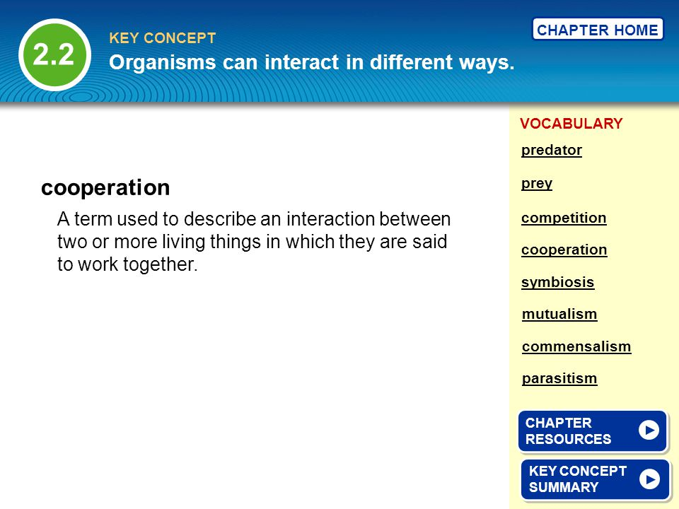 2.2 cooperation Organisms can interact in different ways.