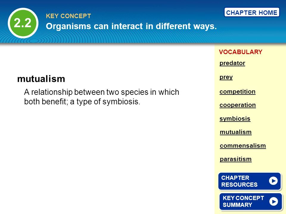 2.2 mutualism Organisms can interact in different ways.