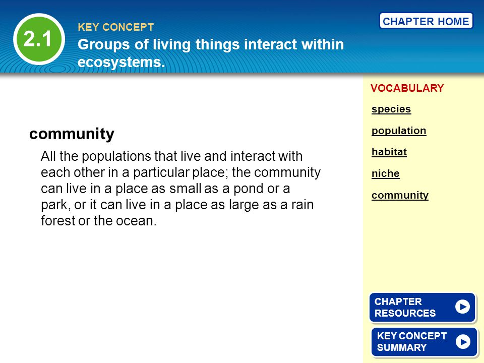 2.1 community Groups of living things interact within ecosystems.