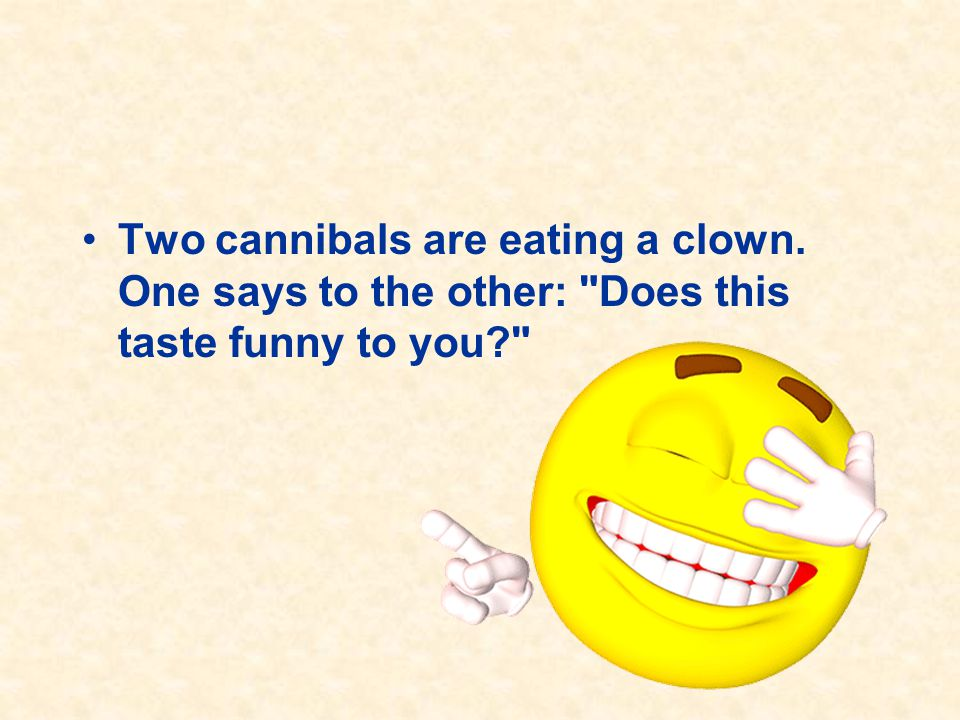 Two cannibals are eating a clown