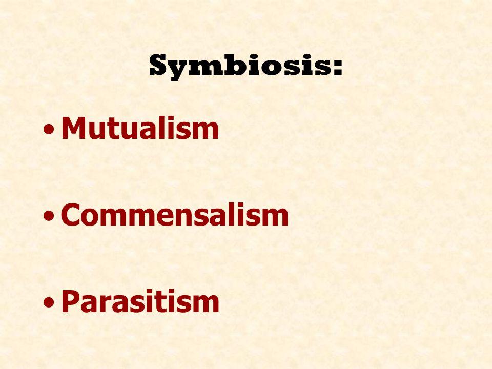 Symbiosis: Mutualism Commensalism Parasitism