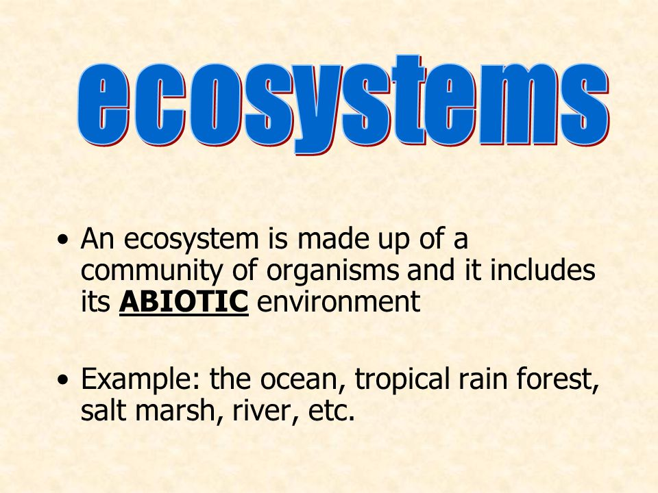 ecosystems An ecosystem is made up of a community of organisms and it includes its ABIOTIC environment.