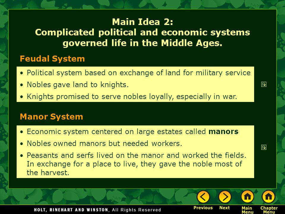 Main Idea 2: Complicated political and economic systems governed life in the Middle Ages.