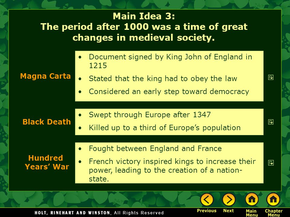 Main Idea 3: The period after 1000 was a time of great changes in medieval society.