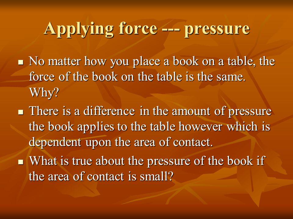Applying force --- pressure