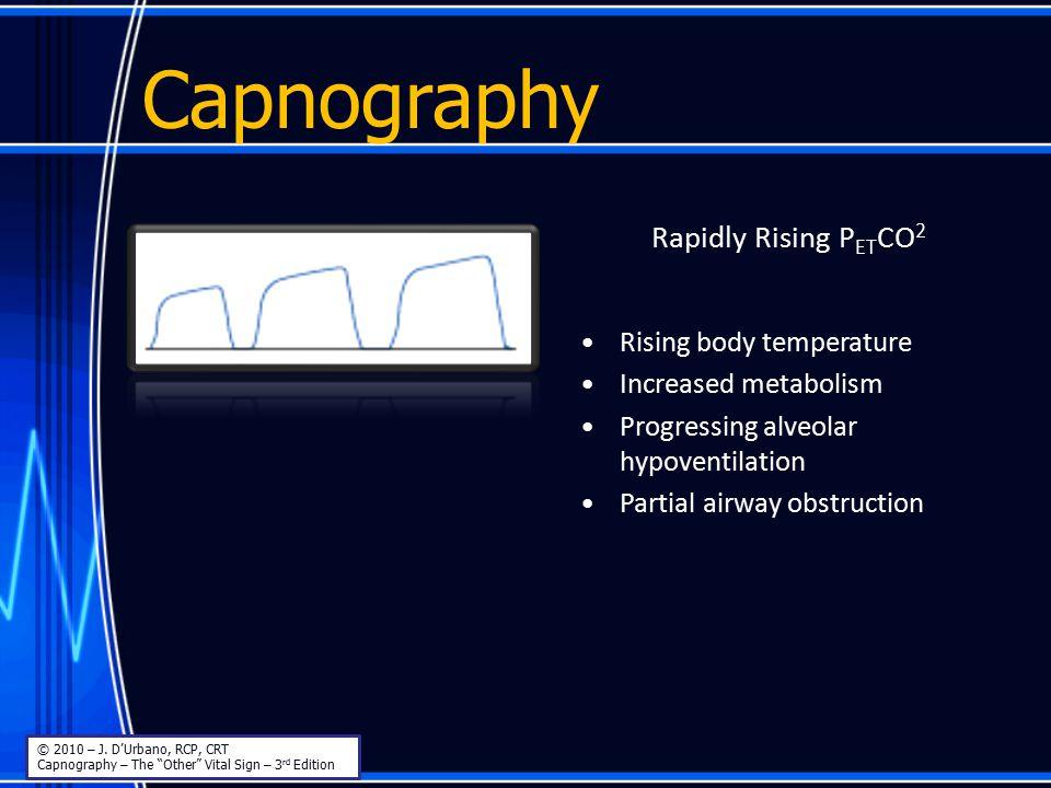 Capnography Rapidly Rising PETCO2 Rising body temperature