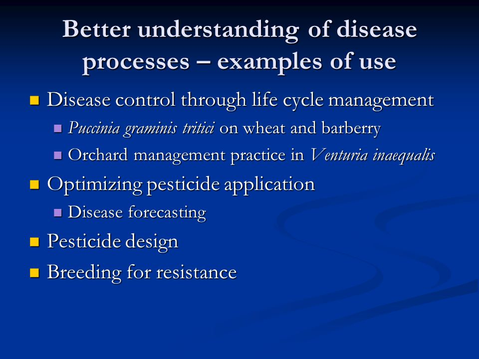 Better understanding of disease processes – examples of use