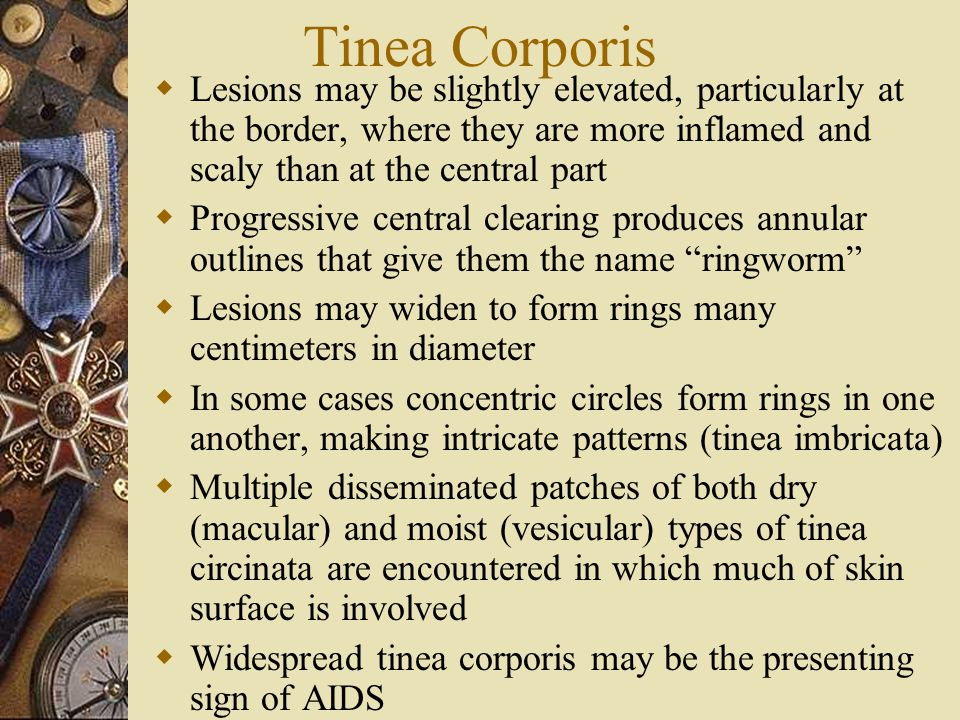 Tinea Corporis Lesions may be slightly elevated, particularly at the border, where they are more inflamed and scaly than at the central part.