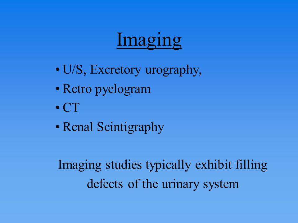 Imaging U/S, Excretory urography, Retro pyelogram CT