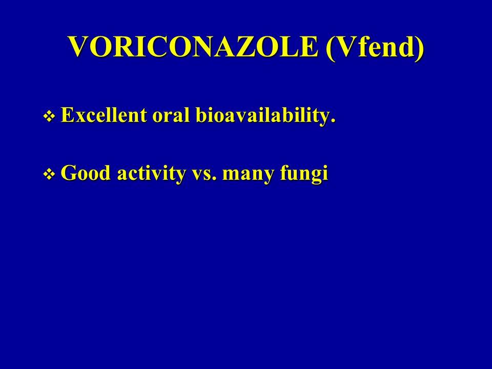 VORICONAZOLE (Vfend) Excellent oral bioavailability.