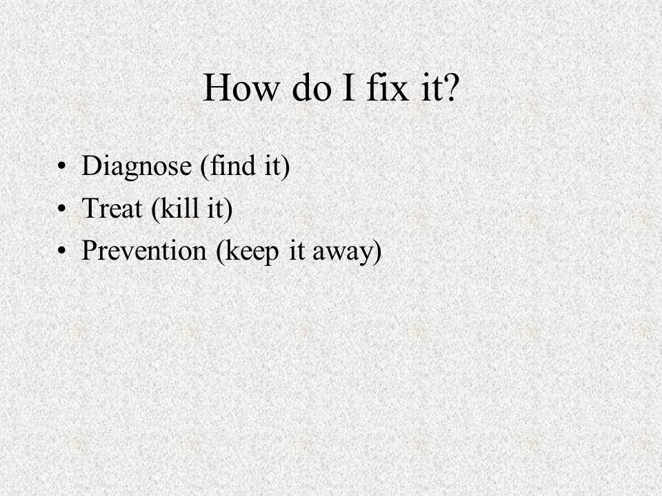 How do I fix it Diagnose (find it) Treat (kill it)