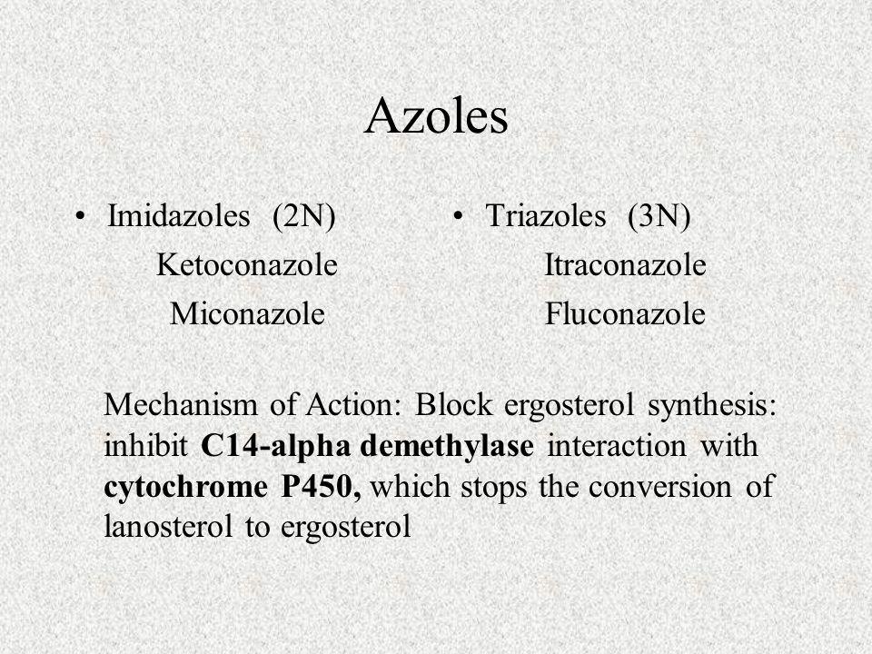 Azoles Imidazoles (2N) Ketoconazole Miconazole Triazoles (3N)