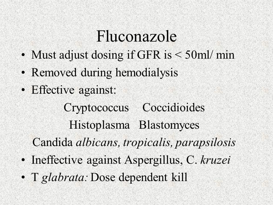 Fluconazole Must adjust dosing if GFR is < 50ml/ min