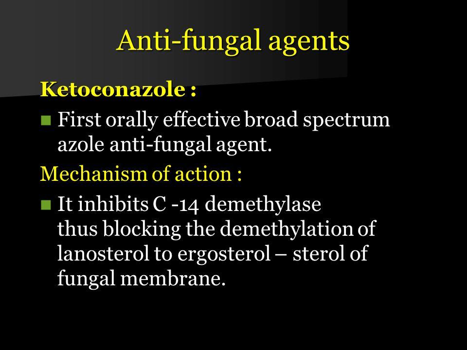 Anti-fungal agents Ketoconazole :