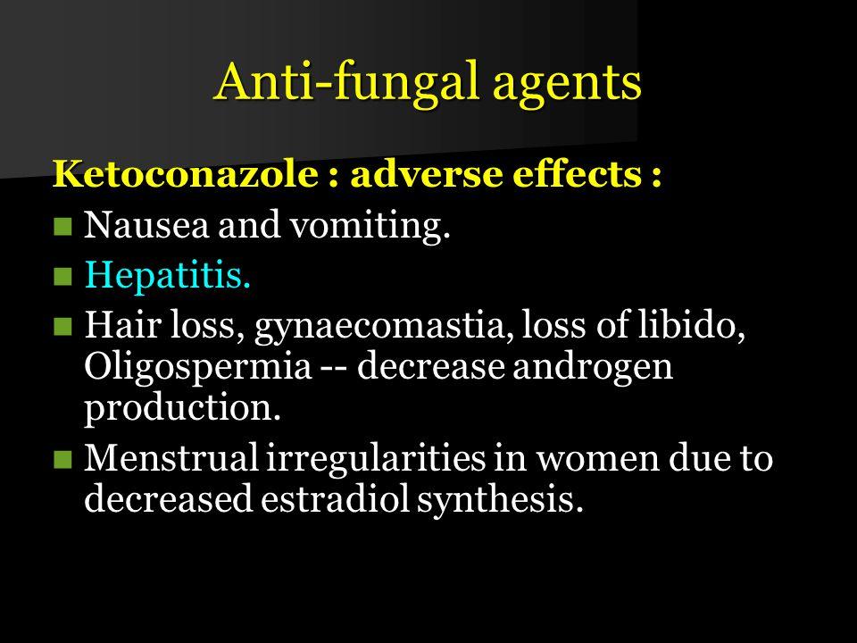 Anti-fungal agents Ketoconazole : adverse effects :