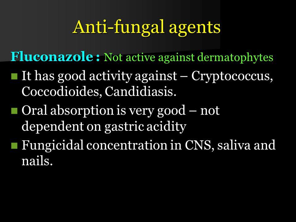 Anti-fungal agents Fluconazole : Not active against dermatophytes