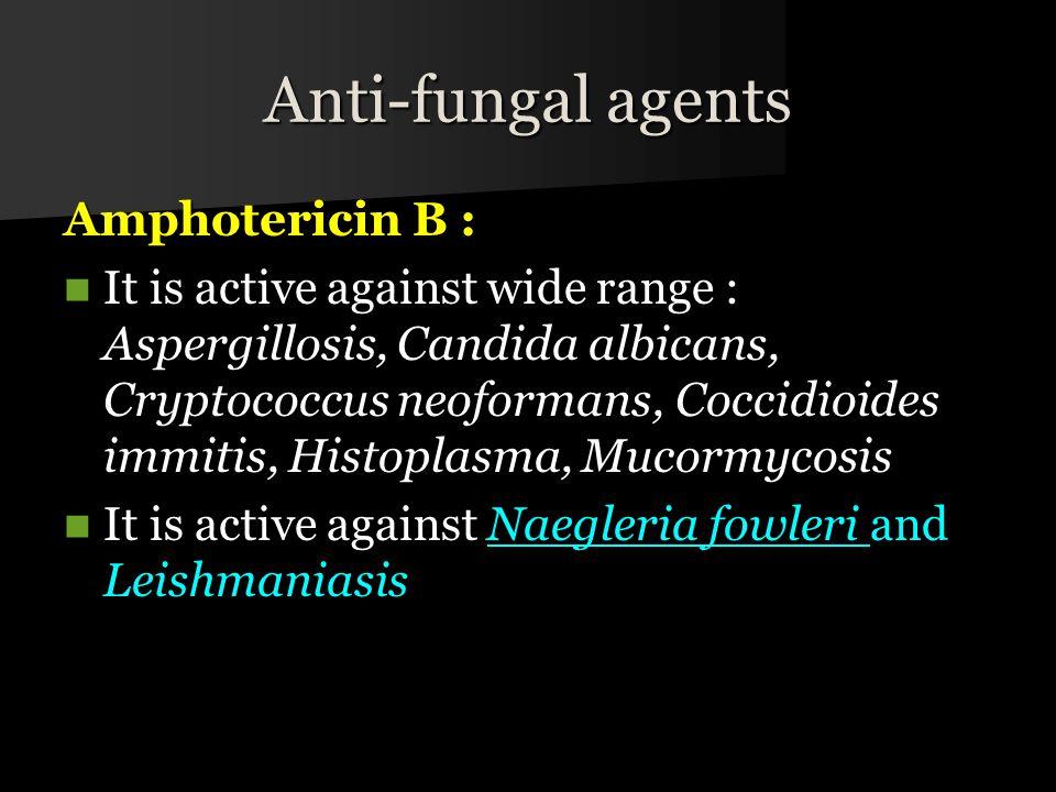 Anti-fungal agents Amphotericin B :