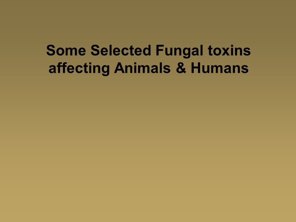 Some Selected Fungal toxins affecting Animals & Humans