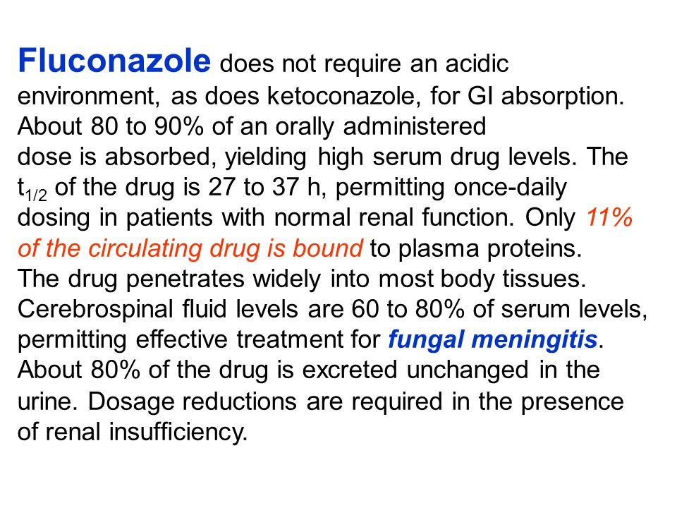 Fluconazole does not require an acidic