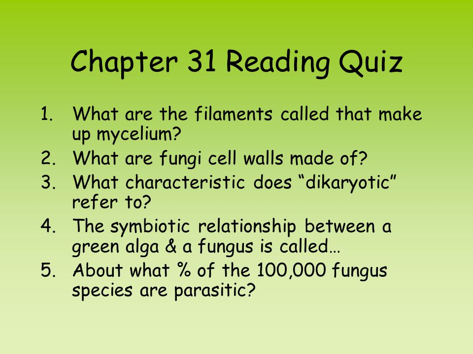 Chapter 31 Reading Quiz What are the filaments called that make up mycelium What are fungi cell walls made of