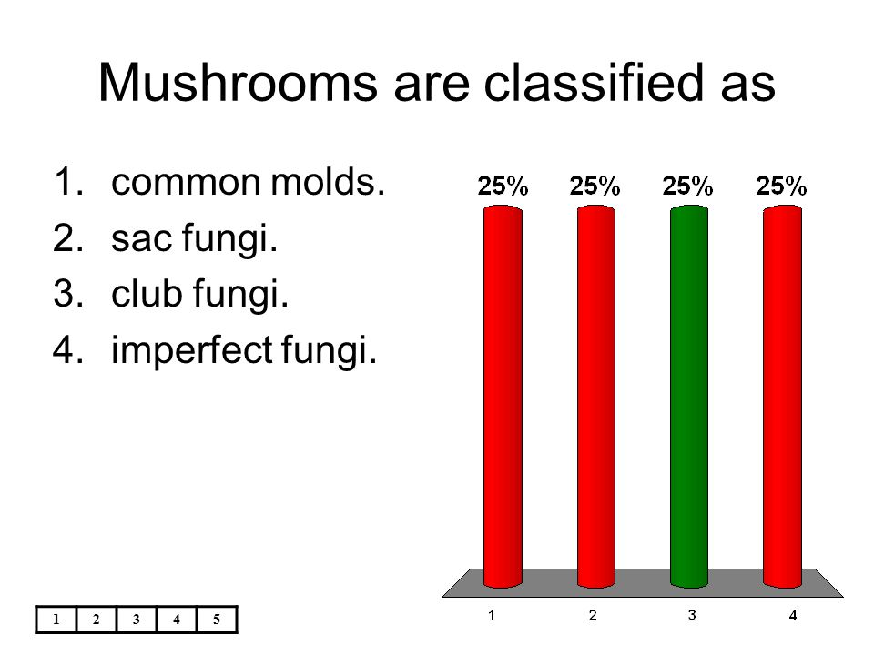 Mushrooms are classified as