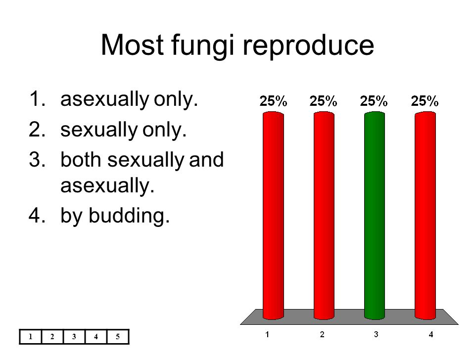 Most fungi reproduce asexually only. sexually only.