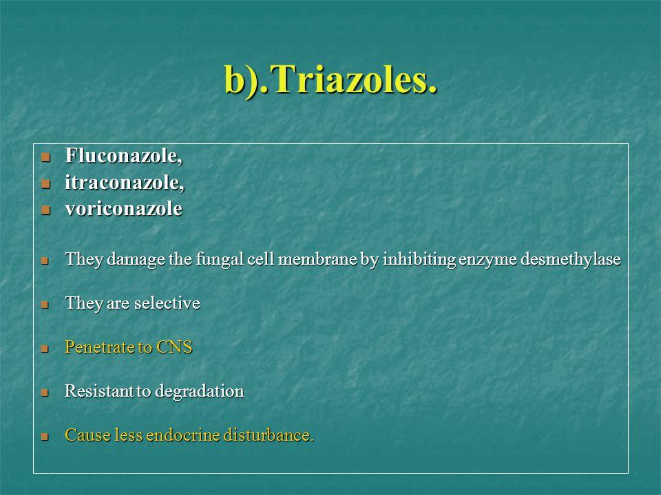b).Triazoles. Fluconazole, itraconazole, voriconazole
