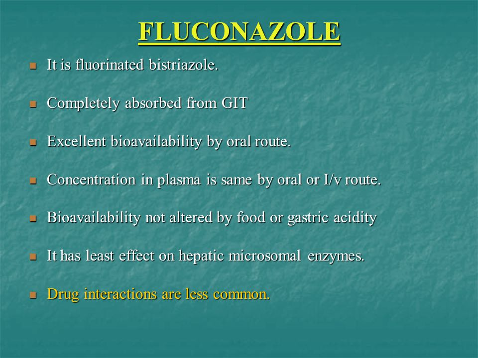 FLUCONAZOLE It is fluorinated bistriazole.