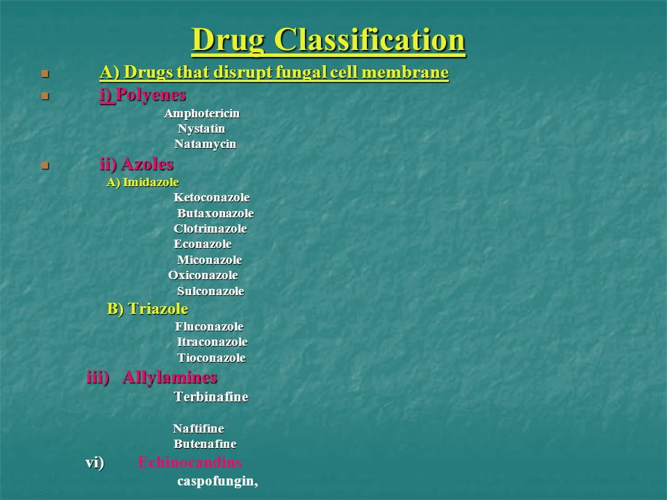 Drug Classification A) Drugs that disrupt fungal cell membrane