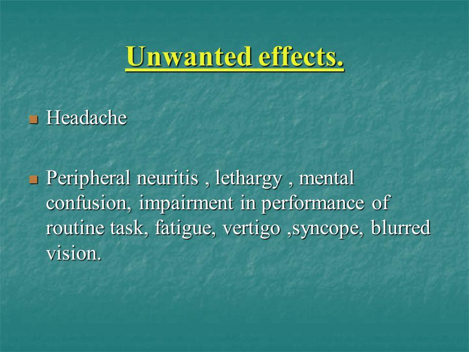 Unwanted effects. Headache