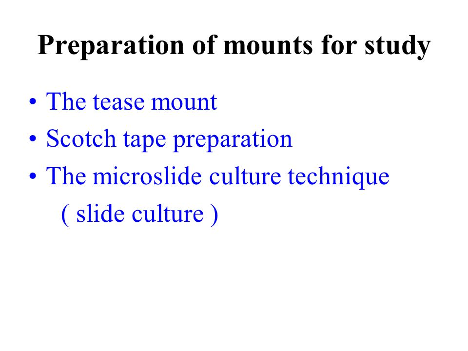 Preparation of mounts for study