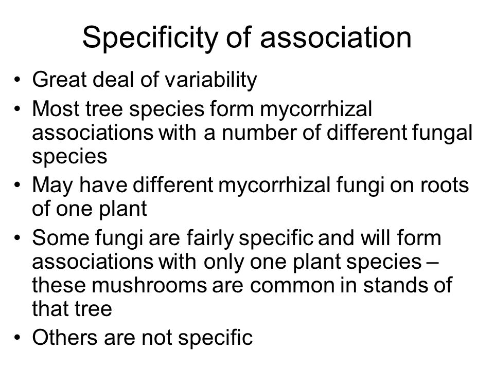 Specificity of association