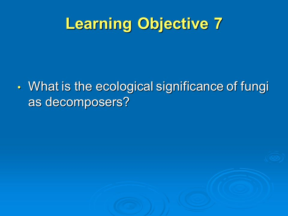 Learning Objective 7 What is the ecological significance of fungi as decomposers