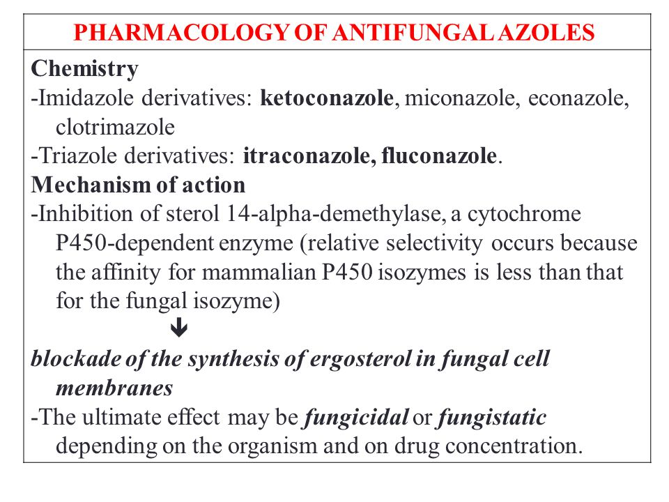 PHARMACOLOGY OF ANTIFUNGAL AZOLES