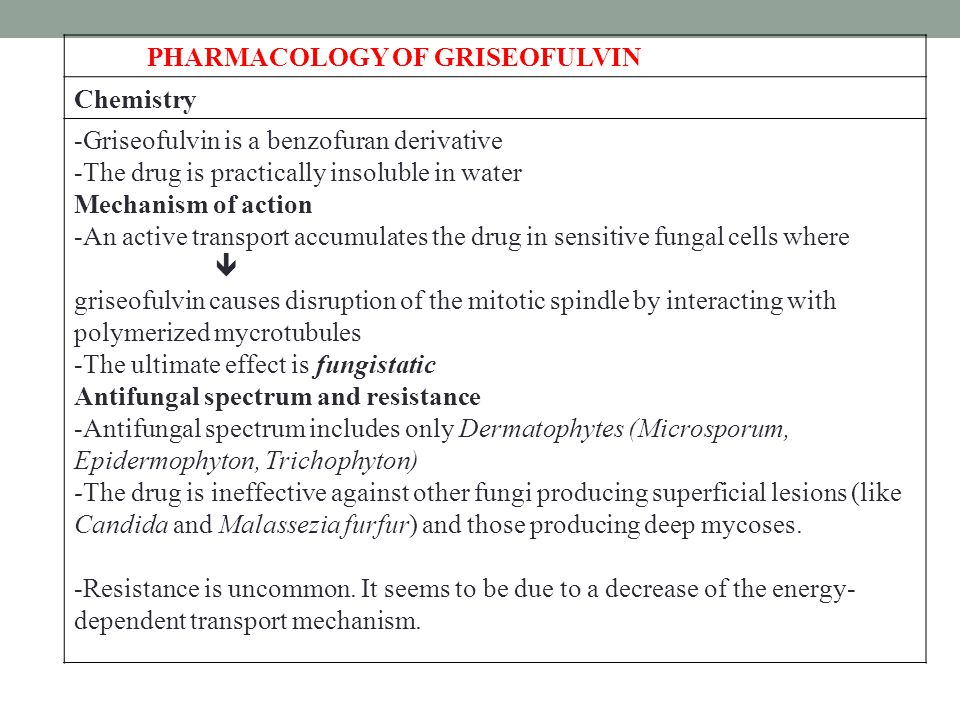 PHARMACOLOGY OF GRISEOFULVIN