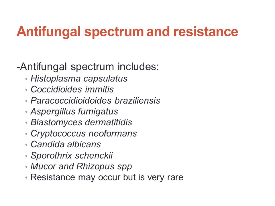 Antifungal spectrum and resistance