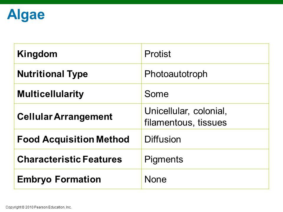 Algae Kingdom Protist Nutritional Type Photoautotroph Multicellularity