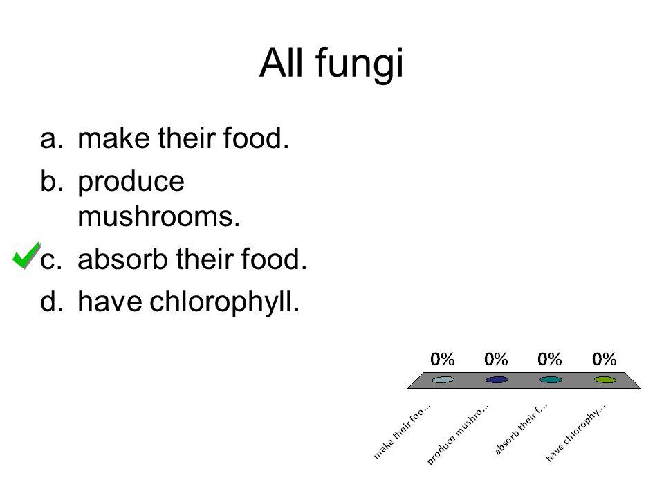 All fungi make their food. produce mushrooms. absorb their food.