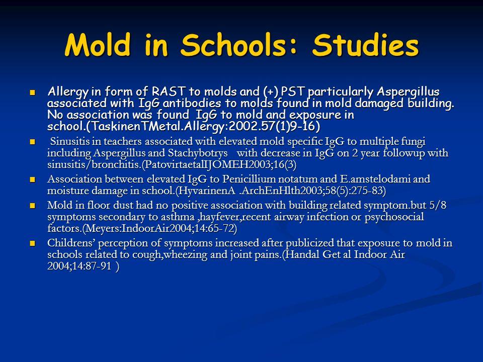 Mold in Schools: Studies