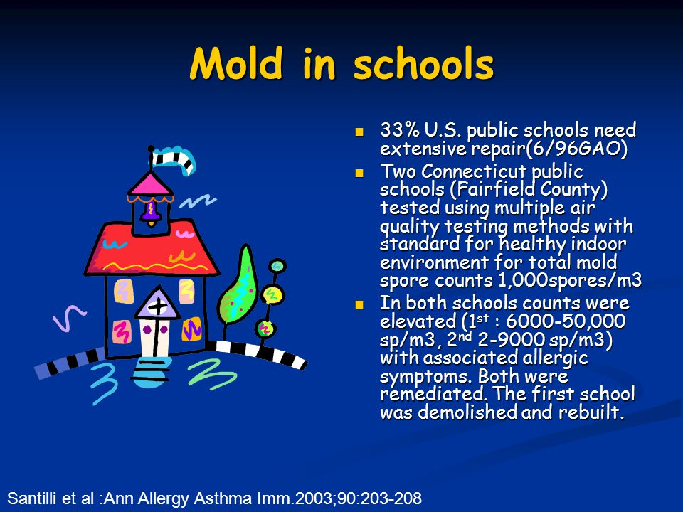 Mold in schools 33% U.S. public schools need extensive repair(6/96GAO)
