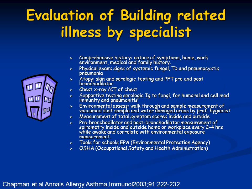 Evaluation of Building related illness by specialist