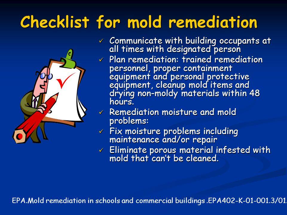 Checklist for mold remediation
