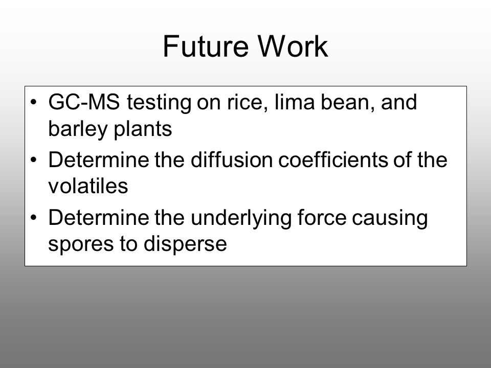 Future Work GC-MS testing on rice, lima bean, and barley plants
